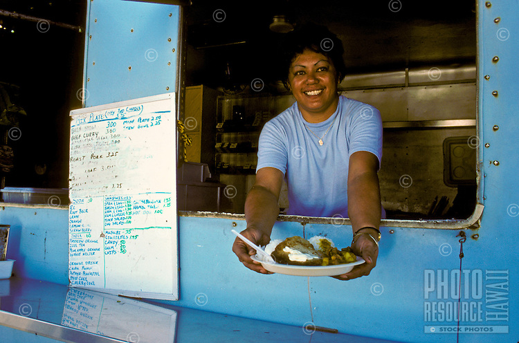 Local plate lunch from a plate lunch truck