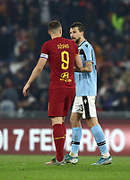 Football, Serie A: AS Roma - S.S. Lazio, Olympic stadium, Rome, January 26, 2020. <br /> Roma's captain Edin Dzeko (l) greets Lazio's Francesco Acerbi (r) at the end of the Italian Serie A football match between Roma and Lazio at Olympic stadium in Rome, on January,  26, 2020. <br /> UPDATE IMAGES PRESS/Isabella Bonotto