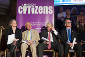London Mayoral candidates Jenny Jones, Ken Livingstone, Boris Johnson and Brian Paddick.  London Citizens Mayoral Accountability Assembly, Central Hall, Westminster.