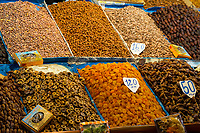 Marrakesh, Morocco.  Dried Figs, Apricots, Dates, and Nuts for Sale, Place Jemaa El-Fna.