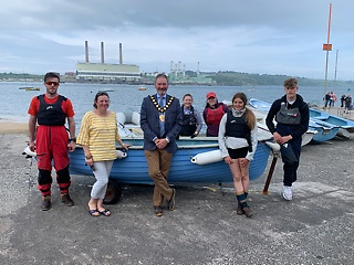 East Antrim BC Regatta weekend -  Mayor Cllr William McCaughey Mid & East Antrim Council, Luch Whitford (front) and the crew of Sirius
