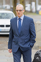 "Pictured: Kevin Thomas arrives at Cardiff Crown Court, Wales, UK. Monday 18 February 2019<br /> Re: Former headteacher Kevin Thomas, who punched and kicked his wife after accusing her of having an affair, is due to be sentenced at Cardiff Crown Court, Wales, UK.<br /> Thomas, 47, attacked his wife and damaged her phone after a ""date night"" playing bingo and drinking.<br /> Thomas and now-estranged wife Donna Thomas had gone to Castle Bingo in Canton, Cardiff on November 24 and then the Castle pub and Brewhouse bar in the city centre, Cardiff Magistrates' Court heard.<br /> The former Glan-Yr-Afon Primary School in Cardiff headteacher, became ""paranoid"" after seeing his wife of seven years speaking to his relative Gareth Lloyd."