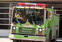 April 2nd  2003, Montreal, (Quebec), Canada<br /> <br /> A Montreal city fire truck is splashed with green paint and eggs, as union's negociation take place between the firement and the city administration.<br /> <br /> (Mandatory Credit: Photo by Sevy - Images Distribution (©) Copyright 2003 by Sevy<br /> <br /> NOTE :  D-1 H original JPEG, saved as Adobe 1998 RGB.<br />  Uncompressed and uncropped original  size file available on request.