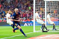 FC Barcelona Andres Iniesta celebrating a goal during King's Cup Finals match between Sevilla FC and FC Barcelona at Wanda Metropolitano in Madrid, Spain. April 21, 2018. (ALTERPHOTOS/Borja B.Hojas)