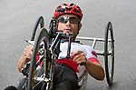 TORONTO, ON, AUGUST 8, 2015. Mark Ledo of Canada wins a gold medal in men's road race (H3-5) at the ParaPan Am Games.<br /> Photo: Dan Galbraith/Canadian Paralympic Committee
