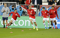 TORONTO, ON - OCTOBER 15: Daniel Lovitz #5, Tim Ream #13, Christian Pulisic #10 and Weston McKennie #8 of the United States warming up during a game between Canada and USMNT at BMO Field on October 15, 2019 in Toronto, Canada.