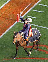 Nov 13, 2010; Charlottesville, VA, USA; The Virginia Cavaliers mascot during the game against the Maryland Terrapins at Scott Stadium. Maryland won 42-23.  Mandatory Credit: Andrew Shurtleff