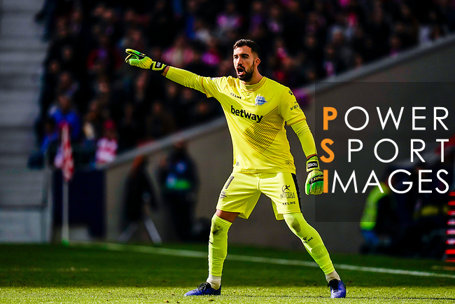 Goalkeeper Fernando Pacheco Flores of Deportivo Alaves reacts during the La Liga 2018-19 match between Atletico de Madrid and Deportivo Alaves at Wanda Metropolitano on December 08 2018 in Madrid, Spain. Photo by Diego Souto / Power Sport Images