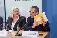 """Pressekonferenz am Mittwoch den 3. April 2019 zur Veroeffentlichung des Bilanzberichtes der """"Unabhaengigen Kommission zur Aufarbeitung sexuellen Kindesmissbrauchs"""".<br /> Im Bild vlnr.: Brigitte Tilmann, Kommissionsmitglied; Johannes-Wilhelm Roerig, Unabhaengiger Beauftragter fuer Fragen des sexuellen Kindesmissbrauchs.<br /> 3.4.2019, Berlin<br /> Copyright: Christian-Ditsch.de<br /> [Inhaltsveraendernde Manipulation des Fotos nur nach ausdruecklicher Genehmigung des Fotografen. Vereinbarungen ueber Abtretung von Persoenlichkeitsrechten/Model Release der abgebildeten Person/Personen liegen nicht vor. NO MODEL RELEASE! Nur fuer Redaktionelle Zwecke. Don't publish without copyright Christian-Ditsch.de, Veroeffentlichung nur mit Fotografennennung, sowie gegen Honorar, MwSt. und Beleg. Konto: I N G - D i B a, IBAN DE58500105175400192269, BIC INGDDEFFXXX, Kontakt: post@christian-ditsch.de<br /> Bei der Bearbeitung der Dateiinformationen darf die Urheberkennzeichnung in den EXIF- und  IPTC-Daten nicht entfernt werden, diese sind in digitalen Medien nach §95c UrhG rechtlich geschuetzt. Der Urhebervermerk wird gemaess §13 UrhG verlangt.]"""