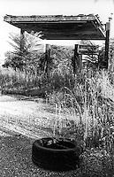 Milano, quartiere Comasina, periferia nord. Distributore di carburante in disuso e abbandonato. Copertone --- Milan, Comasina district, north periphery. Disused and abandoned petrol station. A Tire