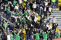 BOGOTA - COLOMBIA, 03-02-2021: Hinchas de Atletico Nacional animan a su equipo en el retorno de los aficionados al abrir asistencia durante partido de la fecha 3 entre Independiente Santa Fe y Atletico Nacional por la Liga BetPlay DIMAYOR II 2021, en el estadio Nemesio Camacho El Campin de la ciudad de Bogota. / Fans of Atletico Nacional cheer for their team in the return of the fans by opening assistance during a match of the 3rd date between Independiente Santa Fe and Atletico Nacional, for the BetPlay DIMAYOR II 2021 League at the Nemesio Camacho El Campin Stadium in Bogota city. / Photo: VizzorImage / Luis Ramirez / Staff.