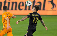 CARSON, CA - OCTOBER 28: Brian Rodriguez #17 of LAFC traps the ball during a game between Houston Dynamo and Los Angeles FC at Banc of California Stadium on October 28, 2020 in Carson, California.