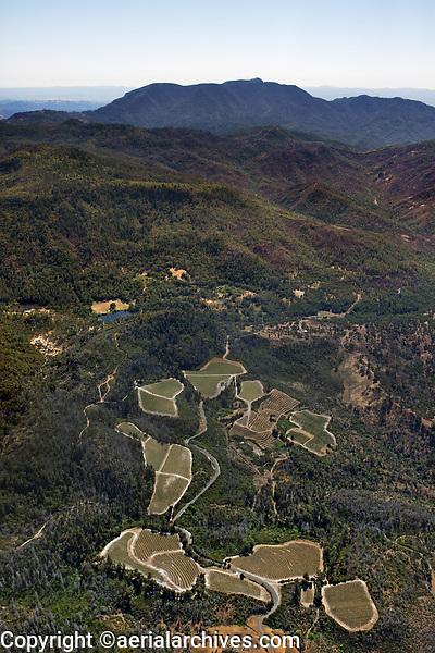 aerial photograph of mountainside vineyards, Vaca mountains toward Mount St. Helena, Napa County, California