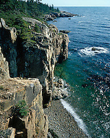 Cliff and shoreline at the Raven's nest on Schoodic Peninsula; Acadia National Park, ME