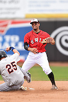 Erie Seawolves second baseman Devon Travis (12) attempts to turn a double play as Brandon Nimmo (25) slides in during a game against the Binghamton Mets on July 13, 2014 at Jerry Uht Park in Erie, Pennsylvania.  Binghamton defeated Erie 5-4.  (Mike Janes/Four Seam Images)
