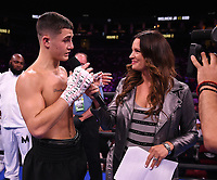 NEWARK, NJ - JULY 31: Fox's Heidi Androl interviews Vito Mielnicki Jr. after he defeated Noah Kidd on the Fox Sports PBC Fight Night at Prudential Center on July 31, 2021 in Newark, New Jersey. (Photo by Frank Micelotta/Fox Sports/PictureGroup)