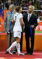 Christie Rampone, Sunil Gulati.  Japan won the FIFA Women's World Cup on penalty kicks after tying the United States, 2-2, in extra time at FIFA Women's World Cup Stadium in Frankfurt Germany.