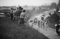 fans cheer for the first riders to pass their way, they proceed the peloton by 8 minutes at this point<br /> <br /> Paris-Roubaix 2014