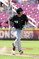 Nick Vilter #48 of the Eugene Emeralds runs to first base during a game against the Salem-Keizer Volcanoes at Volcanoes Stadium on July 27, 2014 in Keizer, Oregon. Salem-Keizer defeated Eugene, 9-1. (Larry Goren/Four Seam Images)
