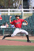 Robinson Hernandez (26) of the Fresno Grizzlies pitches against the Inland Empire 66ers at San Manuel Stadium on May 25, 2021 in San Bernardino, California. (Larry Goren/Four Seam Images)