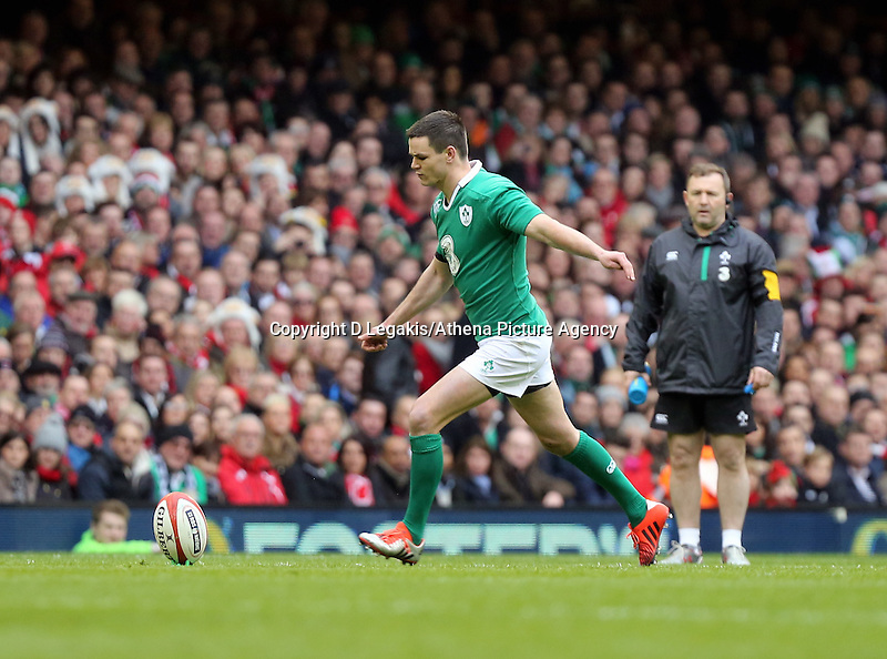 Pictured: Johnny Sexton of Ireland takes a kick Saturday 14 March 2015<br /> Re: RBS Six Nations, Wales v Ireland at the Millennium Stadium, Cardiff, south Wales, UK.