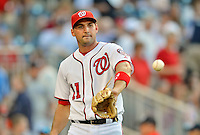 15 June 2012: Washington Nationals third baseman Ryan Zimmerman warms up prior to a game against the New York Yankees at Nationals Park in Washington, DC. The Yankees defeated the Nationals 7-2 in the first game of their 3-game series. Mandatory Credit: Ed Wolfstein Photo