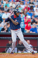 Domingo Santana (15) of the Oklahoma City RedHawks at bat against the Nashville Sounds at Greer Stadium on July 25, 2014 in Nashville, Tennessee.  The Sounds defeated the RedHawks 2-0.  (Brian Westerholt/Four Seam Images)