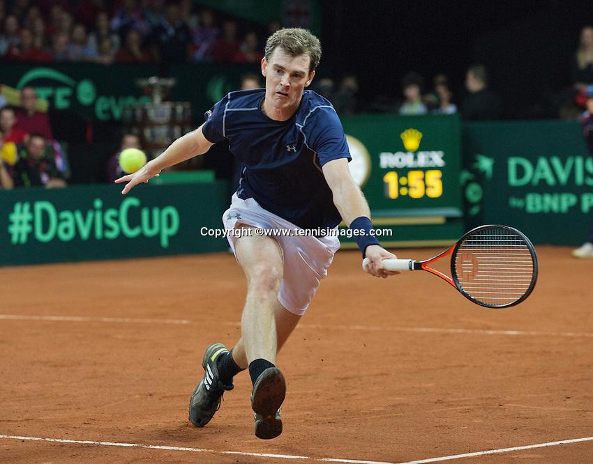 Gent, Belgium, November 28, 2015, Davis Cup Final, Belgium-Great Britain, day two, doubles match, Jamie Murray (GBR) <br /> Photo: Tennisimages/Henk Koster