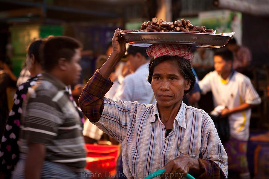 Woman in the fish market, Yangon, Myanmar