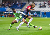 REIMS, FRANCE - JUNE 8: Chinaza Uchendu #11 of Nigeria tries to tackle Caroline Graham Hansen #10 of Norway during a 2019 FIFA Women's World Cup match between Norway and Nigeria at Stade Auguste-Delaune on June 8, 2019 in Reims, France.