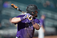 Dax Roper (9) of the Furman Paladins at bat against the Wake Forest Demon Deacons at BB&T BallPark on March 2, 2019 in Charlotte, North Carolina. The Demon Deacons defeated the Paladins 13-7. (Brian Westerholt/Four Seam Images)