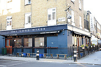 The Good Mixer Pub in Camden Town. The deserted streets show the severe effects of the COVID-19 epidemic on London on 23rd March 2020