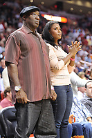 MIAMI, FL - FEBRUARY 27:  Michael Clarke Duncan_Omarosa Manigault Stallworth at The Miami Heat vs New York Knicks Games at AmericanAirlines Arena on February 27, 2011 in Miami, Florida<br />  <br /> People:   Michael Clarke Duncan_Omarosa Manigault Stallworth