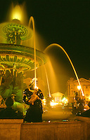 France Paris The fountains at the Place de la Concorde illuminated at night
