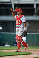 Greeneville Reds catcher Jose Tello (41) signals to the defense during the second game of a doubleheader against the Princeton Rays on July 25, 2018 at Hunnicutt Field in Princeton, West Virginia.  Greeneville defeated Princeton 8-7.  (Mike Janes/Four Seam Images)