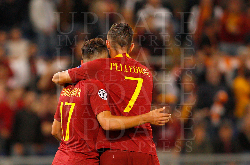 Roma's Cengiz Under, left, celebrates with his teammate Lorenzo Pellegrini after scoring during the Champions League football match between Roma and Viktoria Plzen at Rome's Olympic stadium, October 2, 2018.<br /> UPDATE IMAGES PRESS/Riccardo De Luca