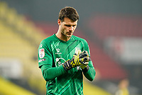 Goalkeeper Daniel Bachmann of Watford during the Sky Bet Championship behind closed doors match between Watford and Wycombe Wanderers at Vicarage Road, Watford, England on 3 March 2021. Photo by David Horn.
