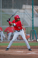AZL Angels left fielder William Rivera (9) at bat during an Arizona League game against the AZL Giants Black at the San Francisco Giants Training Complex on July 1, 2018 in Scottsdale, Arizona. The AZL Giants Black defeated the AZL Angels by a score of 4-2. (Zachary Lucy/Four Seam Images)