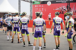 Intermarche-Wanty-Gobert Materiaux at sign on before the start of Stage 5 of the 2021 UAE Tour running 170km from Fujairah to Jebel Jais, Fujairah, UAE. 25th February 2021.  <br /> Picture: Eoin Clarke   Cyclefile<br /> <br /> All photos usage must carry mandatory copyright credit (© Cyclefile   Eoin Clarke)