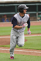 Colorado Springs Sky Sox outfielder Logan Schafer (6) runs to first during a Pacific Coast League game against the Iowa Cubs on May 10th, 2015 at Principal Park in Des Moines, Iowa.  Iowa defeated Colorado Springs 14-2.  (Brad Krause/Four Seam Images)