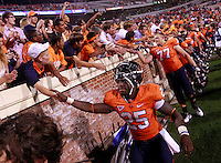 Sept. 3, 2011 - Charlottesville, Virginia - USA; Virginia Cavaliers running back Kevin Parks (25) greets fans after an NCAA football game against William & Mary at Scott Stadium. Virginia won 40-3. (Credit Image: © Andrew Shurtleff