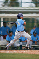 Tampa Bay Rays second baseman Zach Rutherford (14) at bat during an Instructional League game against the Pittsburgh Pirates on October 3, 2017 at Pirate City in Bradenton, Florida.  (Mike Janes/Four Seam Images)