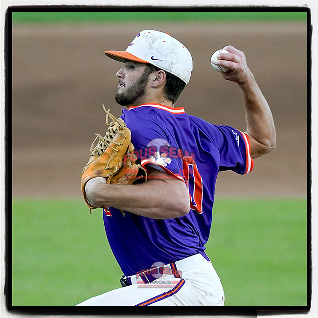 Davis Sharpe (30) of the Clemson Tigers was selected by the Cleveland #Indians in the 13th round (396 overall) in the 2021 MLB Draft. He's pictured in a fall Orange-Purple intrasquad scrimmage on Friday, November 13, 2020, at Doug Kingsmore Stadium in Clemson, South Carolina. (Tom Priddy/Four Seam Images)