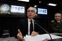 Montreal (Qc) CANADA - April 17 2012 File Photo - <br /> Robert LafreniËre, commissaire a la lutte contre la corruption (UPAC :Unite permanente anticorruption ) (L) <br /> , Inspecteur Denis Morin, Service des enquetes sur la corruption, SQ : Surete du Quebec (R) adress the media after a string of arrestations including of Tony Accurso - April 17, 2012.