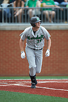 Tommy Lane (19) of the Marshall Thundering Herd starts down the first base line against the Charlotte 49ers at Hayes Stadium on April 23, 2016 in Charlotte, North Carolina. The Thundering Herd defeated the 49ers 10-5.  (Brian Westerholt/Four Seam Images)