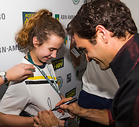 Rotterdam, The Netherlands, 16 Februari, 2018, ABNAMRO World Tennis Tournament, Ahoy, Tennis, Meet and greet with Federer<br /> <br /> Photo: www.tennisimages.com