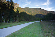 Franconia Notch State Park from along the Franconia Notch Bike Path in the White Mountains, New Hampshire.