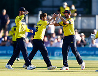 Liam Dawson (C) of Hampshire is congratulated after taking the wicket of Joe Denly during Kent Spitfires vs Hampshire Hawks, Vitality Blast T20 Cricket at The Spitfire Ground on 9th June 2021