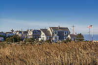 Homes overlooking the ocean, Oak Bluffs, Martha's Vineyard, Massachusetts, USA