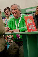 Thursday 22 May 2014<br /> Pictured: Henry Winkler signs copies of his book in the Hay festival book shop<br /> Re: Hay Festival takes place at Hay on Wye, Powys, Wales